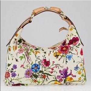 0a0b611553c62e Gucci · 💯 authentic Gucci floral horsebit hobo bag purse